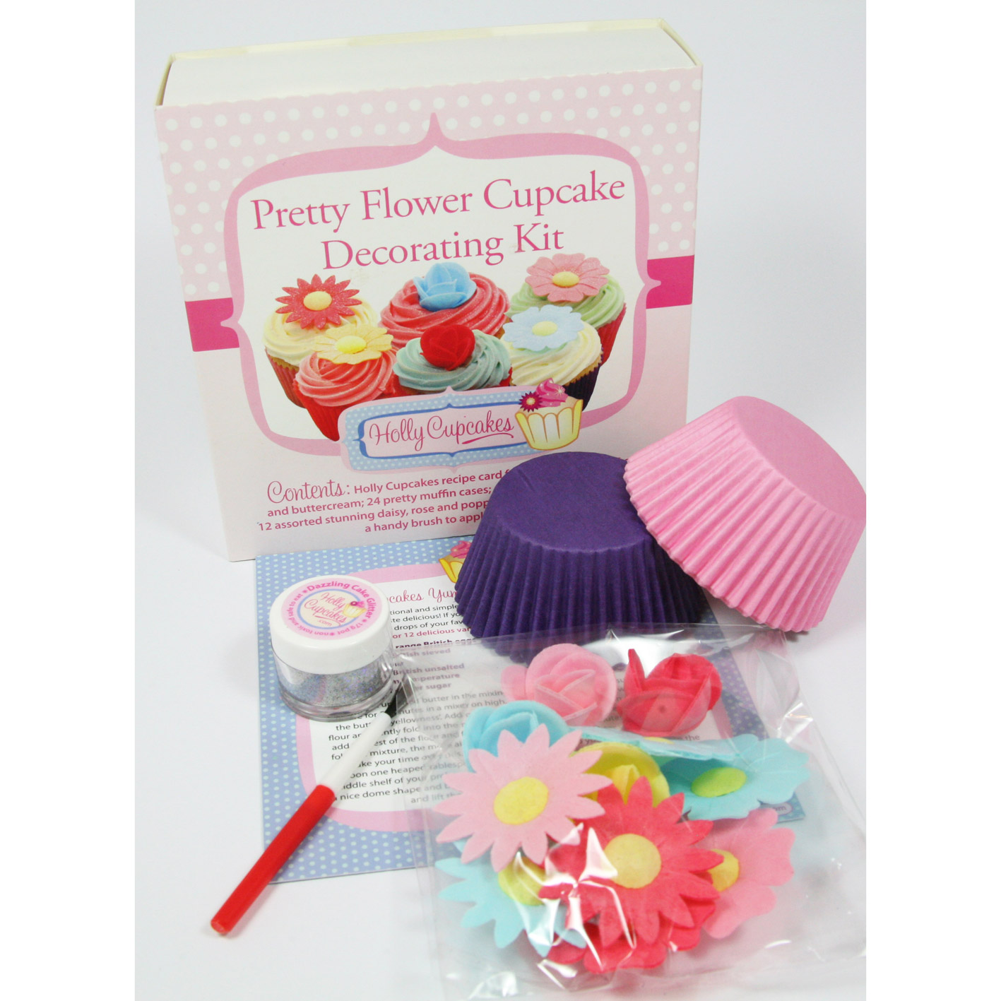 Pretty flower cupcake decorating kit holly cupcakes for Cupcake home decorations