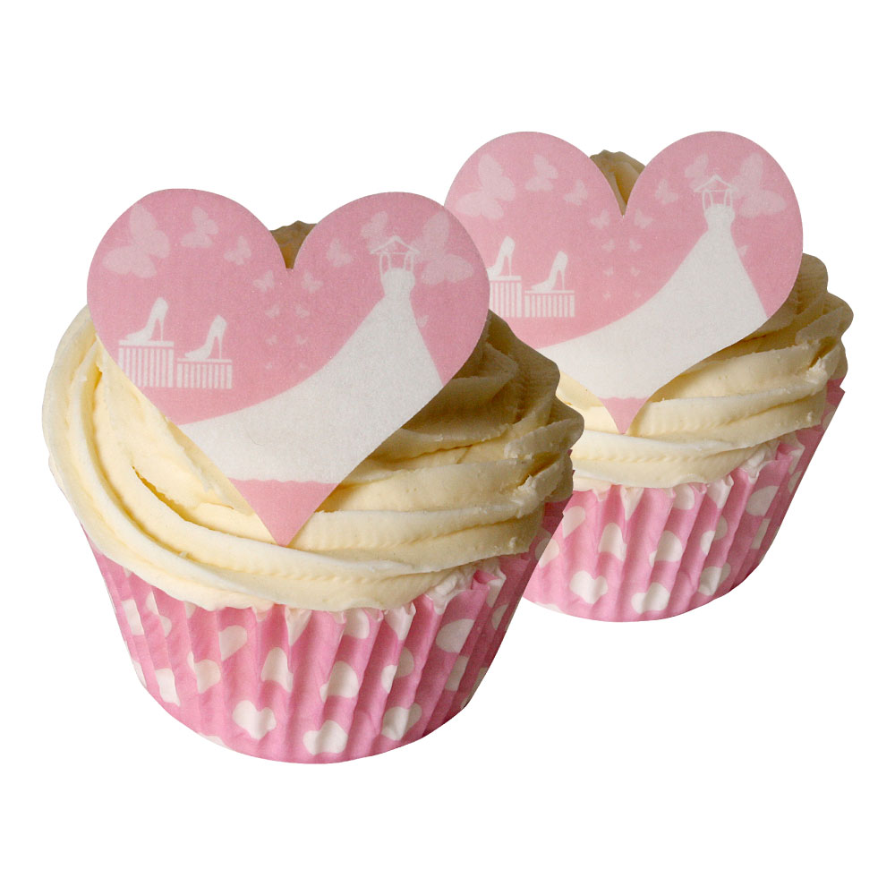 12 White Wedding Dress Heart Shaped Cake Decorations | Holly Cupcakes